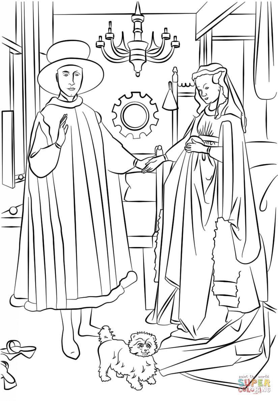 Jan Van Eyck Arnolfini Hochzeit  Ausmalbild Die Arnolfini Hochzeit von Jan Van Eyck