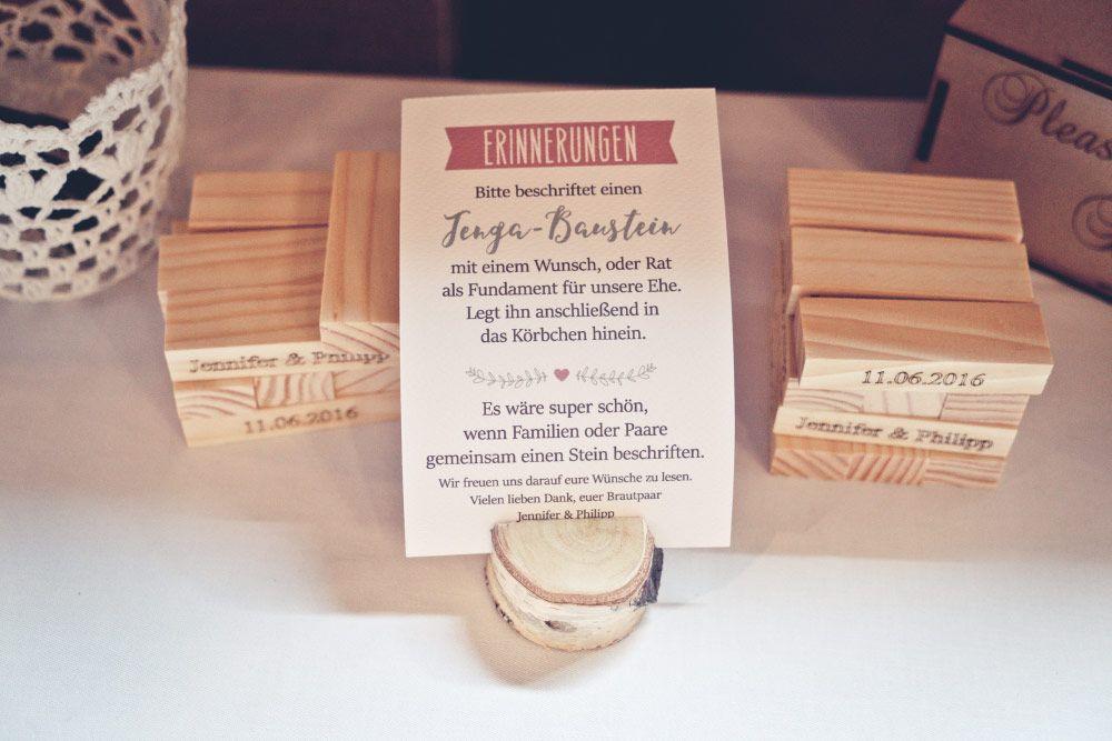 Jenga Hochzeit  Alternative zum Gästebuch bei der Hochzeit