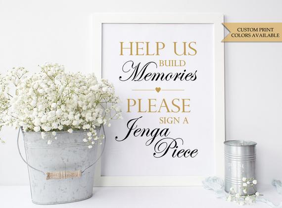 Jenga Hochzeit  Jenga Hochzeit Zeichen 8 x 10 Jenga Gästebuch Zeichen