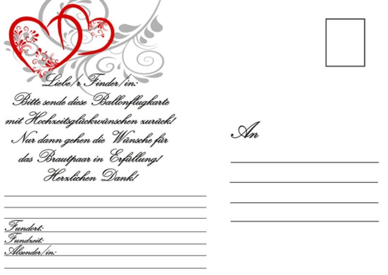 Karten Zur Hochzeit  Ballonflugkarten Hochzeit Wünsche für das Hochzeitspaar