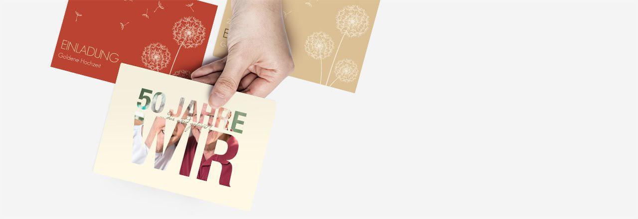 Karten Zur Hochzeit  Goldene Hochzeit Karten mit edlem & individuellen Druck