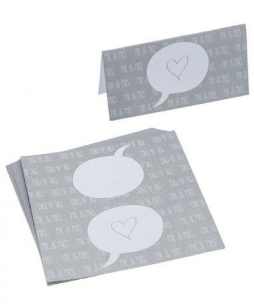Kik Hochzeit  Tischkarte Hochzeit Sprechblase Herz ca 10 x 10 cm