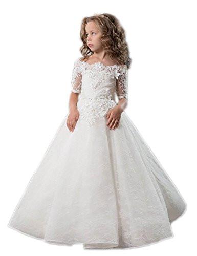Kinder Hochzeit Kleider  Lange Kleider in Weiß für Mädchen günstig online kaufen