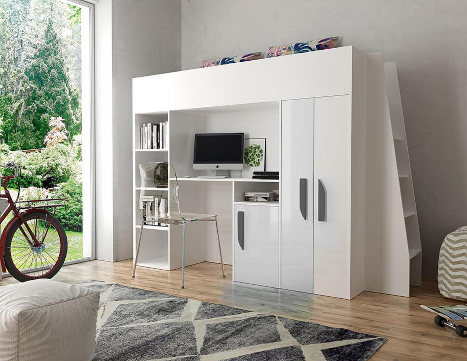 Kinderhochbett Mit Schreibtisch  Kinderhochbett mit Schreibtisch DELTA