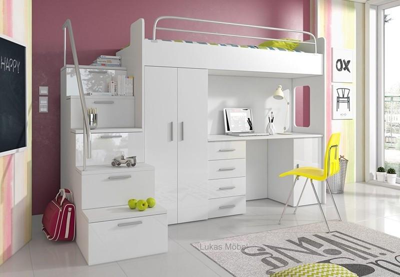 Kinderhochbett Mit Schreibtisch  Kinderhochbett Sam 3 80x200 Hochbettkombination mit