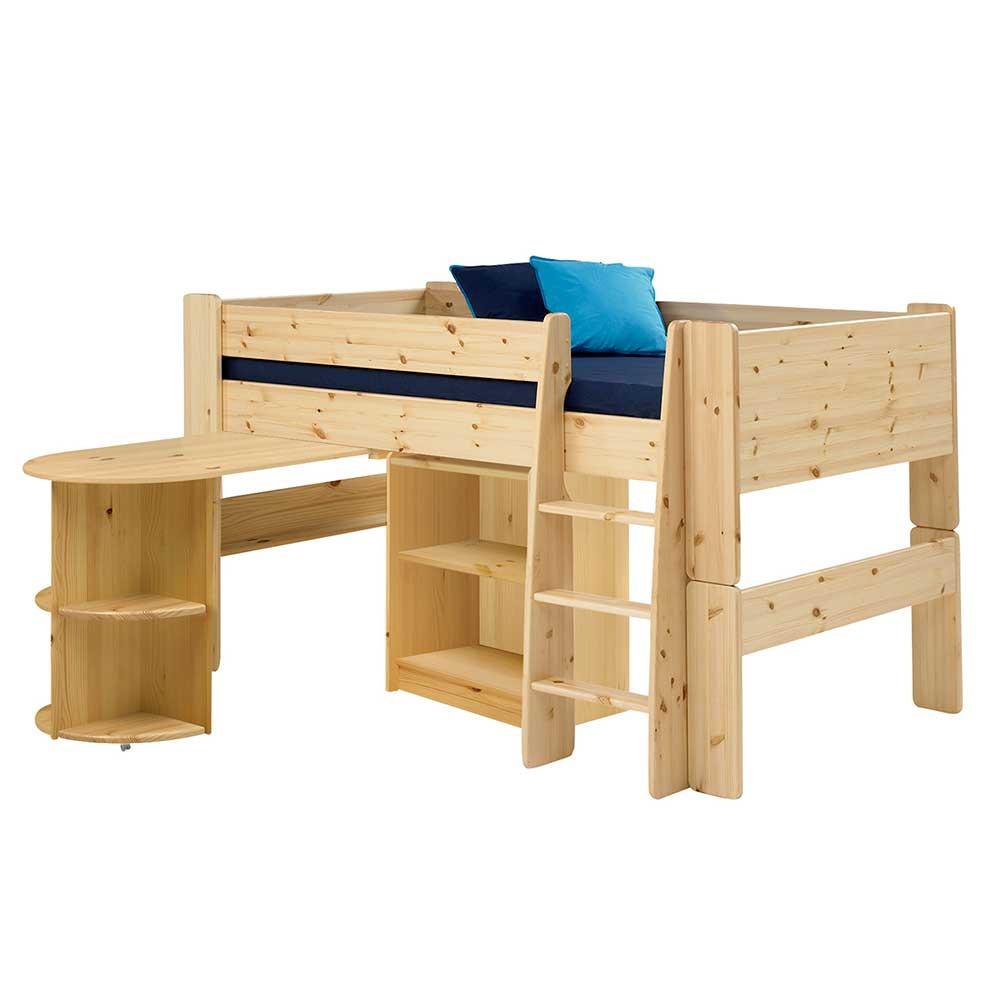 Kinderhochbett Mit Schreibtisch  Kinderhochbett Laza aus Kiefer Massivholz
