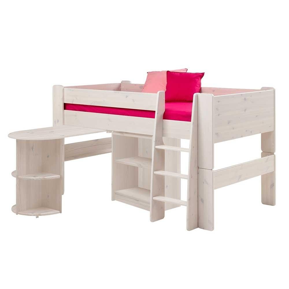 Kinderhochbett Mit Schreibtisch  Kinderhochbett Mengiz in Weiß mit Schreibtisch