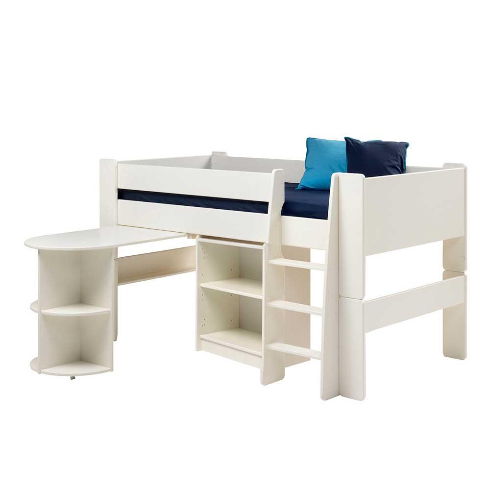 Kinderhochbett Mit Schreibtisch  Kinderhochbett Lazadro in Weiß mit Schreibtisch Pharao24