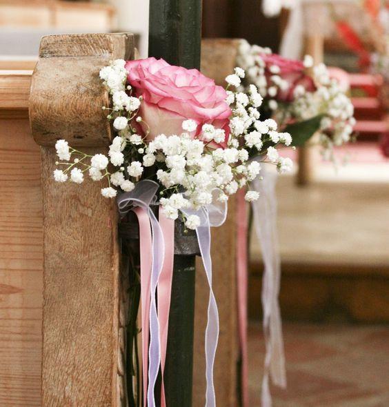 Kirchendeko Hochzeit  Blumendeko auf der Hochzeit mit Schleierkraut
