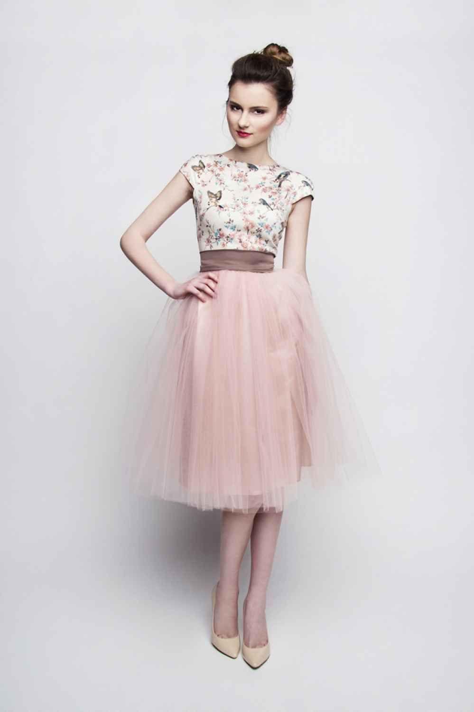 Kleid Für Hochzeit  Standesamt Kleid rosa braun kurz mit Tüllrock individuelle