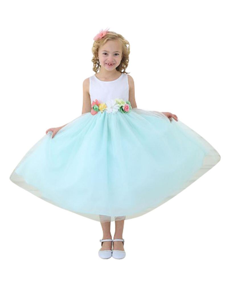 Kleid Mintgrün Hochzeit  BIMARO Mädchen Kleid Tamia mintgrün grün weiß Blüten Satin