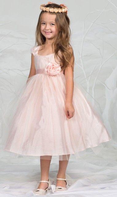 Kleider Festlich Hochzeit  Hübsches Kleid Hannah apricot rosa für Mädchen mit tollem