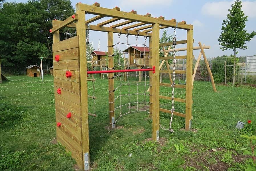 Klettergerüst Garten  Kinder Klettergerüst Holz Premium mit Kletterwand
