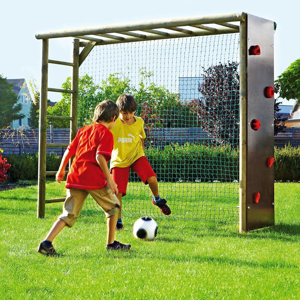 Klettergerüst Garten  Fußballtor mit Kletterwand für Kinder Garten Fußballwand