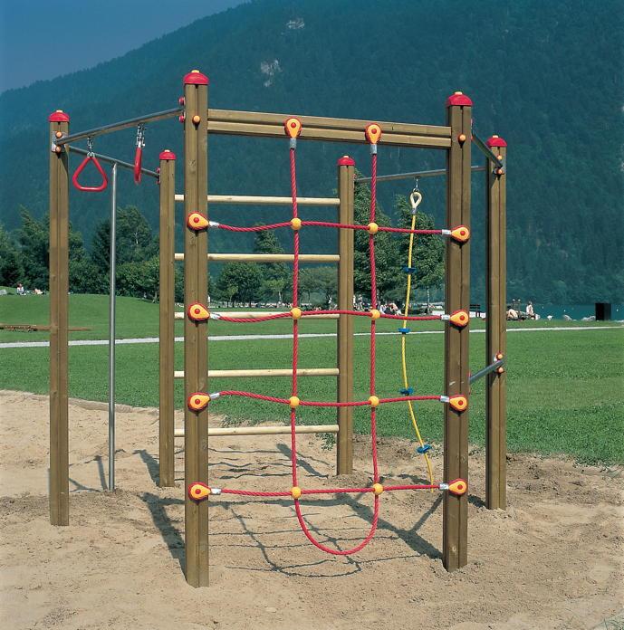 Klettergerüst Garten  Klettergerüst Holzhof Hexagonal Kletterwand Netz