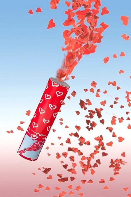 Konfettikanone Hochzeit  Konfettikanone Roter Herzregen Mini Konfetti zur