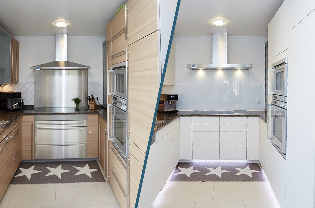 Küche Arbeitsplatte  Helle Küche mit dunkler Arbeitsplatte
