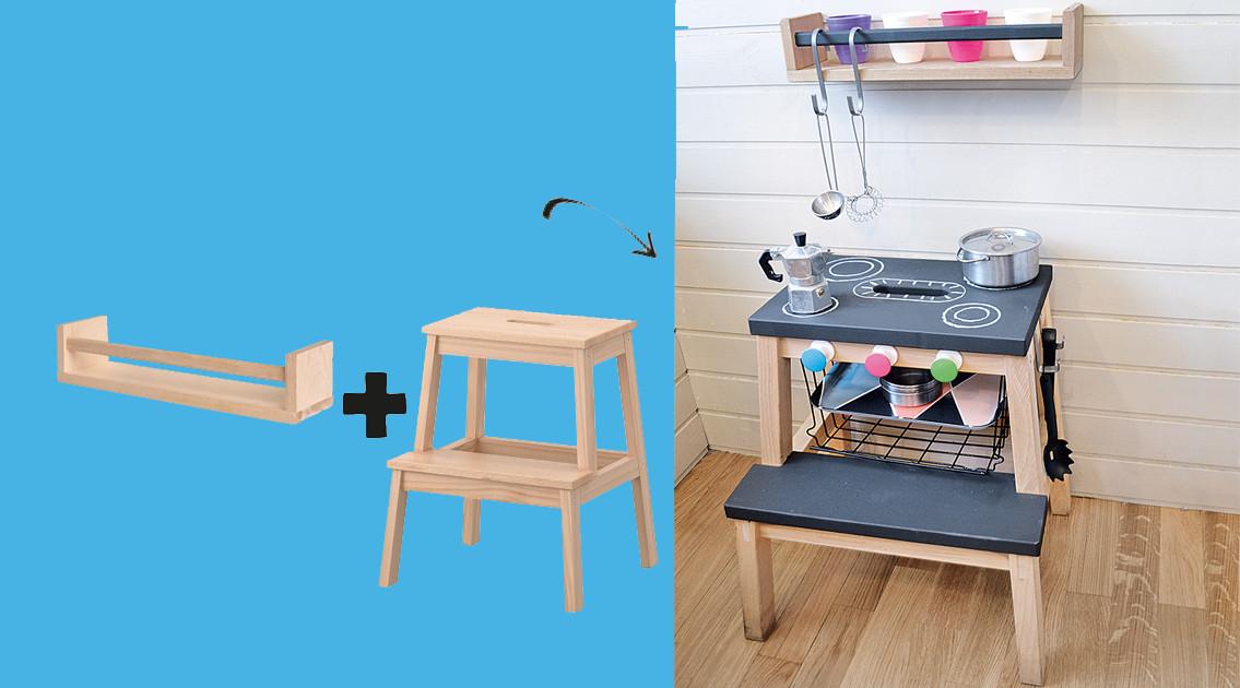 Küche Kinder  Super IKEA Hack Küche für Kinder aus einem Tritthocker