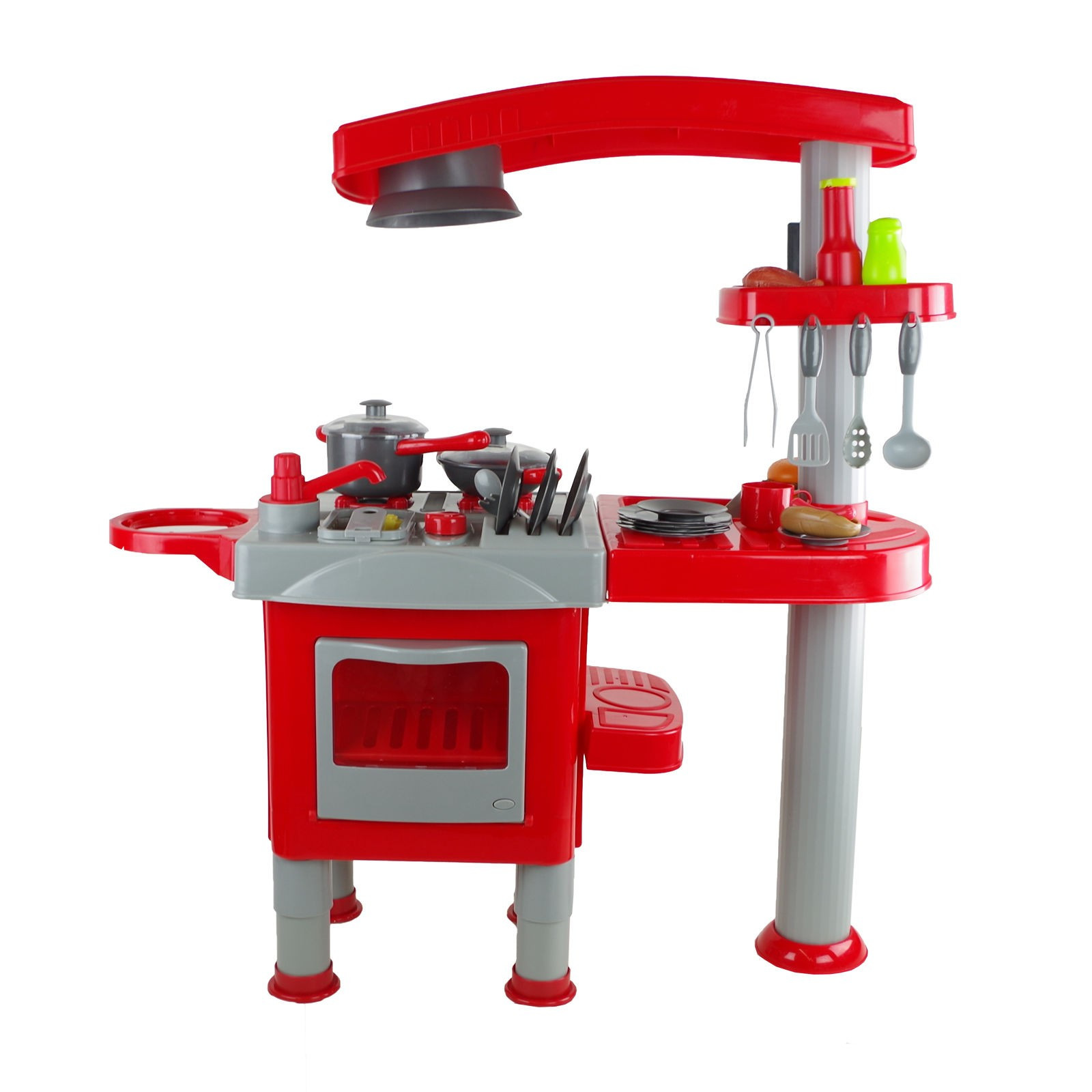 Küche Kinder  Spielzeugküche rot grau Küche für Kinder Küchenset