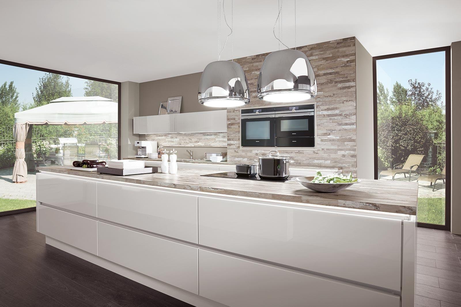 Küche Mit Kochinsel  Kochinsel Küche Hochglanz Weiß Norina 9555