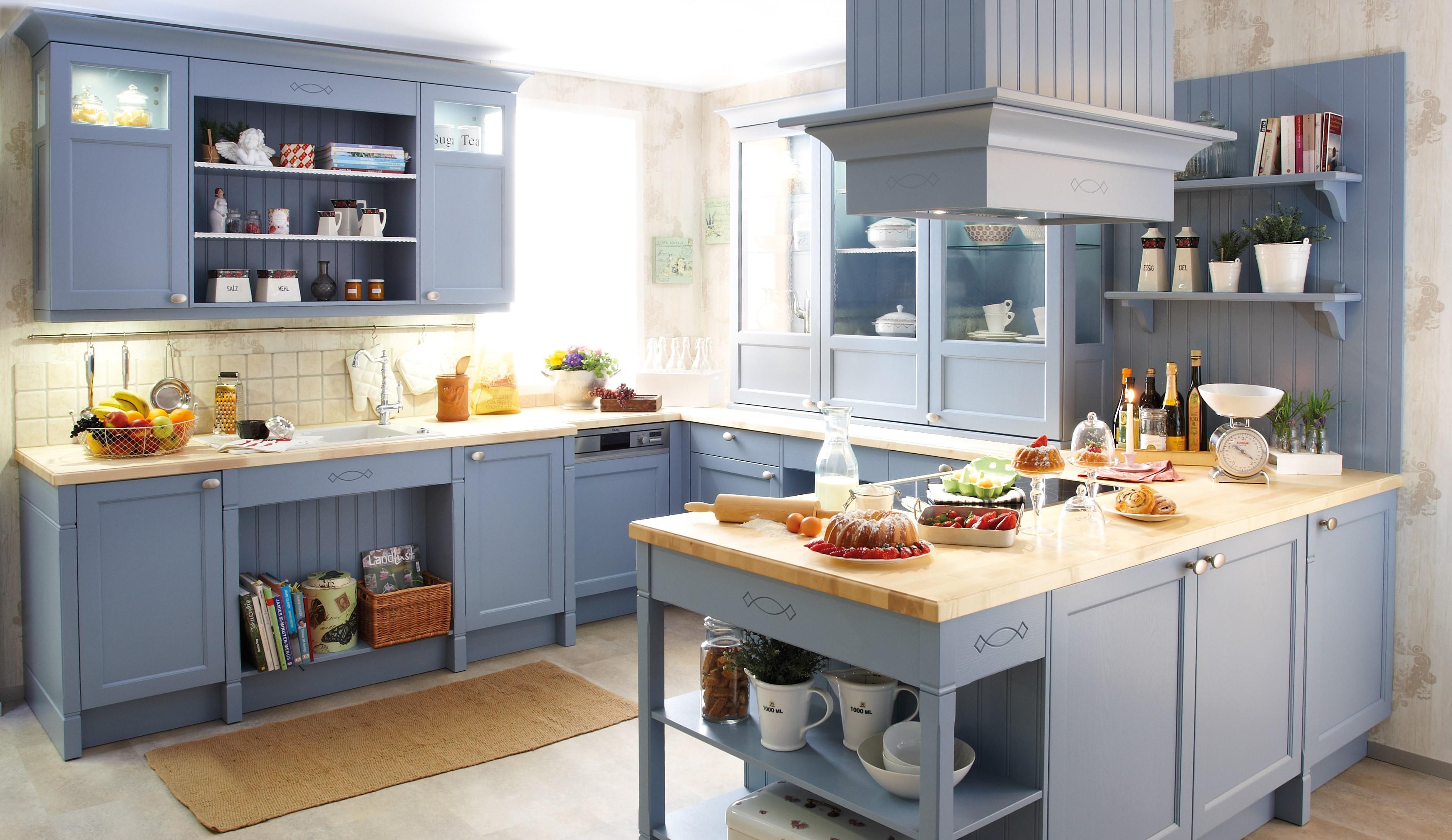 Küche Quelle  Landhaus Einbauküche Spinell Achatblau Küchen Quelle