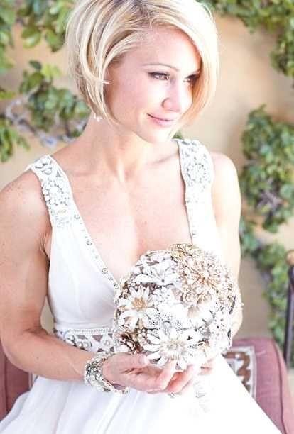 Kurze Haare Hochzeit  Brautfrisuren kinnlange haare
