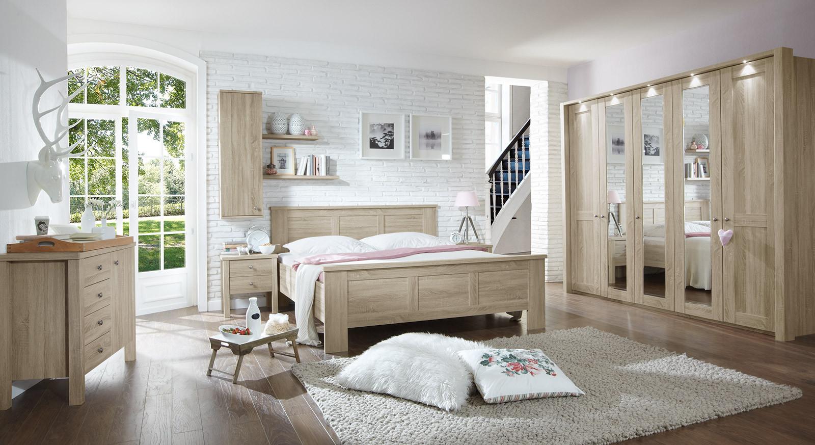 Landhaus Schlafzimmer  Landhaus Komplett Schlafzimmer Eiche sägerau mit Beimöbeln