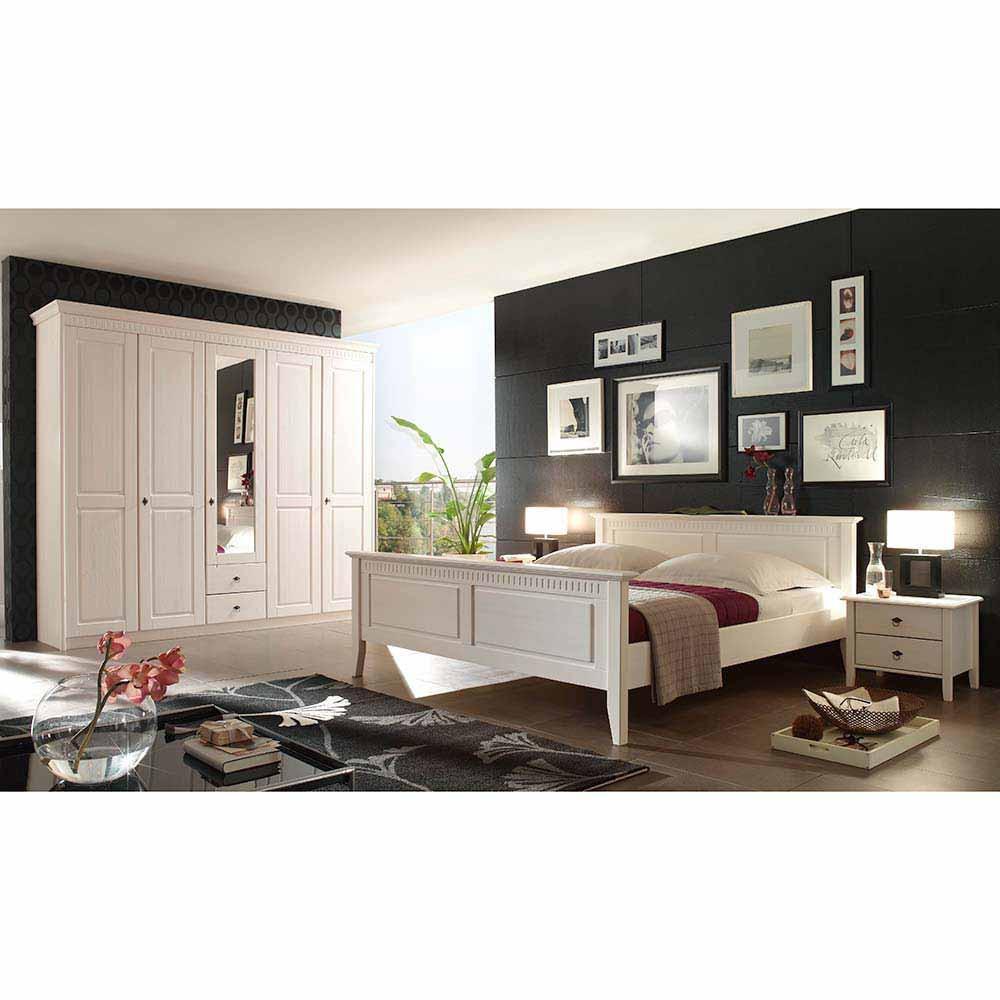 Landhaus Schlafzimmer  Landhaus Schlafzimmer Orelia in Weiß aus Pinie