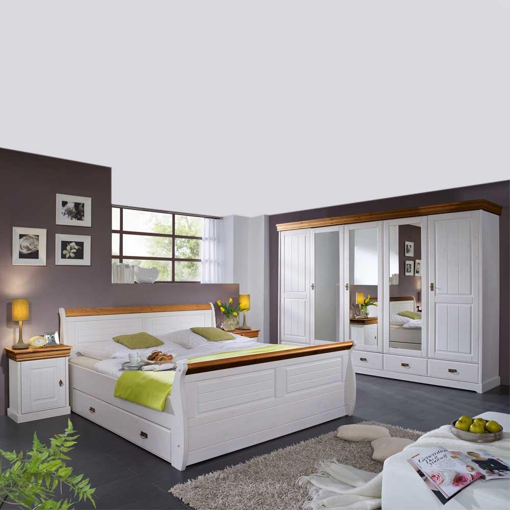 Landhaus Schlafzimmer  Landhaus Schlafzimmer Scots in Weiß aus Kiefer