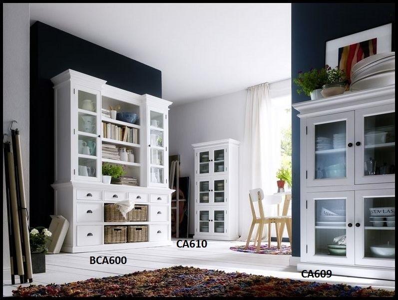 Landhausmöbel Wohnzimmer  Landhausmoebel weiß Halifax Glasvitrine Buffet Schrank