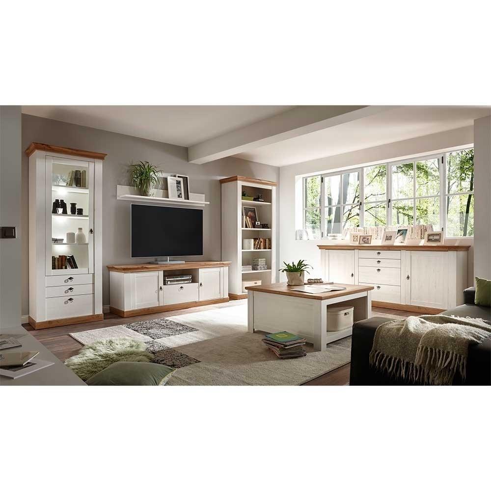 Landhausmöbel Wohnzimmer  Wohnzimmer Landhausmöbel Set zweifarbig Diatara 6 teilig