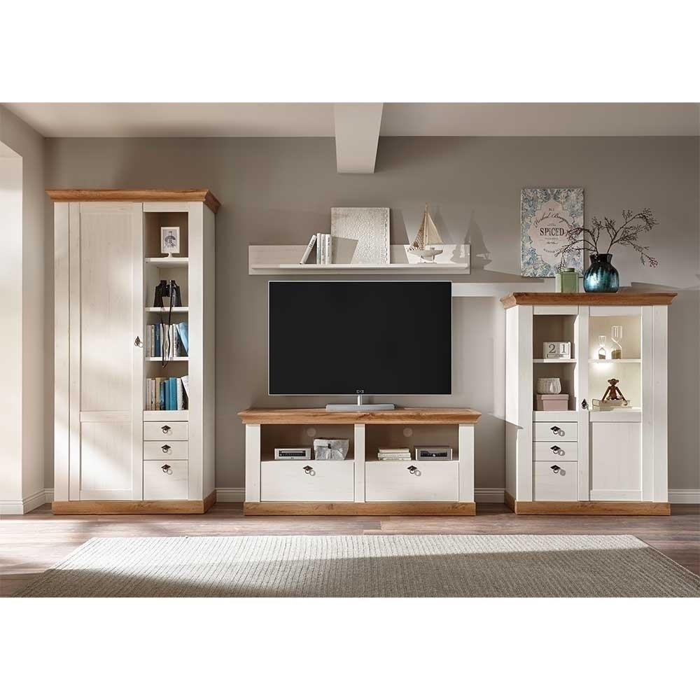 Landhausmöbel Wohnzimmer  Zweifarbiges Landhausmöbel Set fürs Wohnzimmer Diatara I