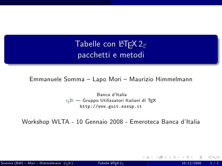 Latex Tabelle  Latex Tabelle pacchetti e metodi