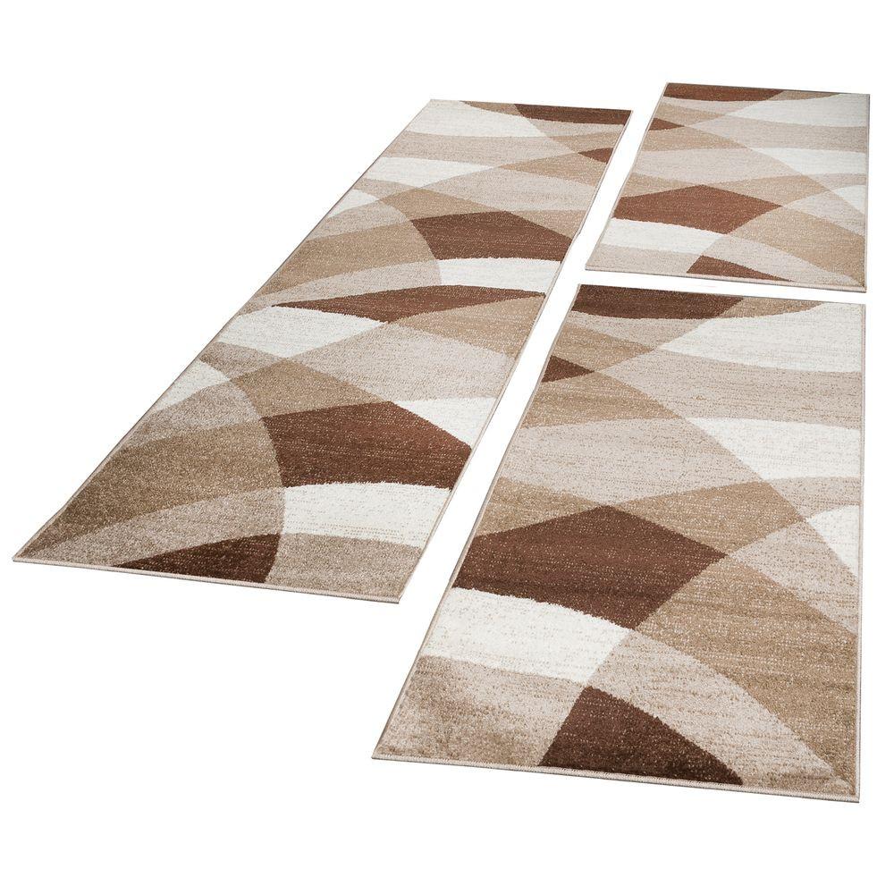Läufer Teppich  Bettumrandung Läufer Teppich Geometrisch Kurzflor Braun