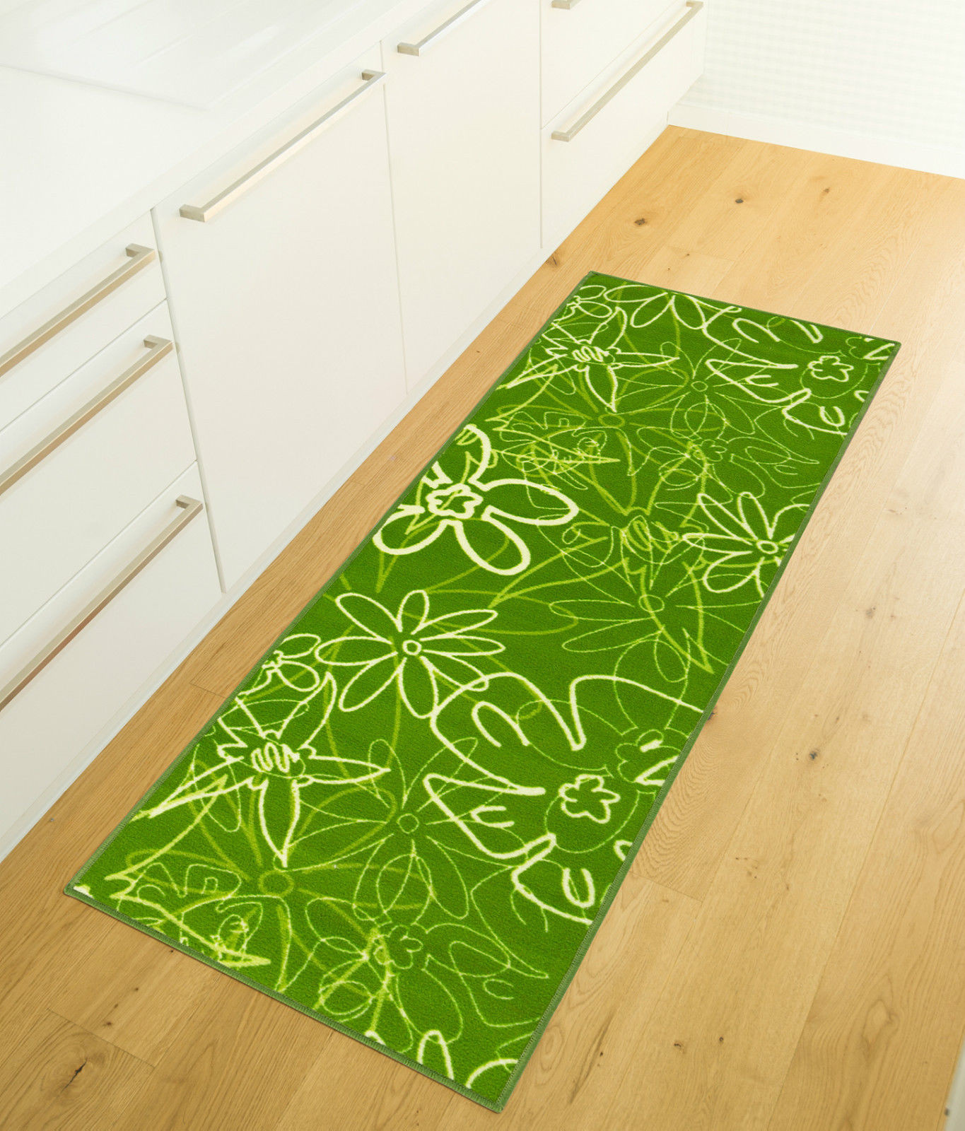 Läufer Teppich  Küchenläufer waschbar Grün Küchenteppich Blumen Muster