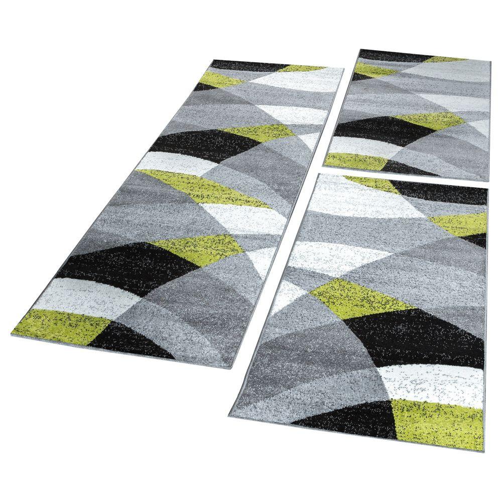 Läufer Teppich  Bettumrandung Läufer Teppich Geometrisch Meliert Grün Grau