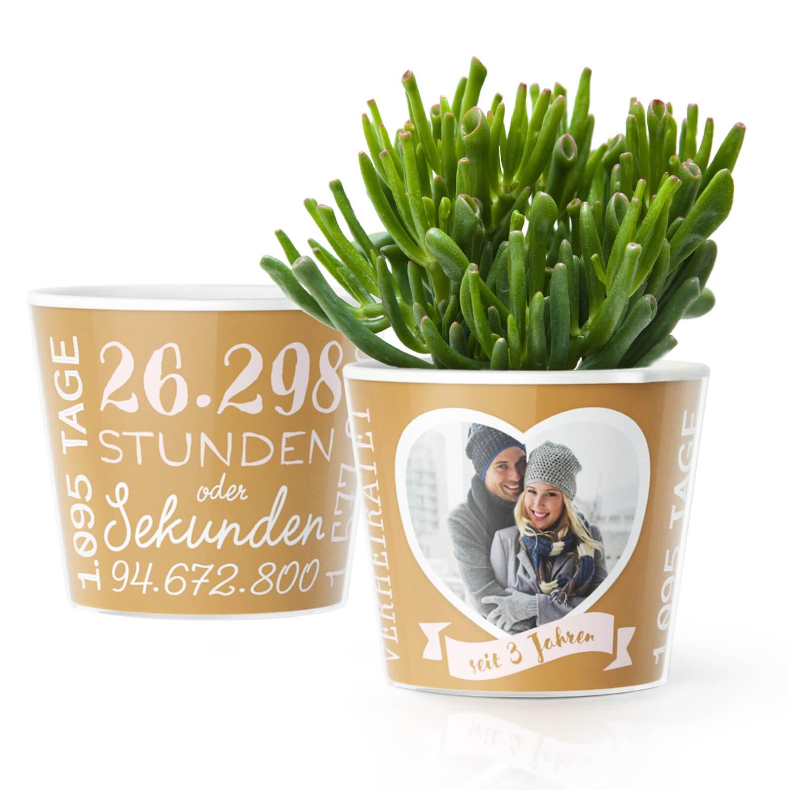 Lederne Hochzeit  3 Hochzeitstag Lederne Hochzeit – Blumentopf von MyFacepot