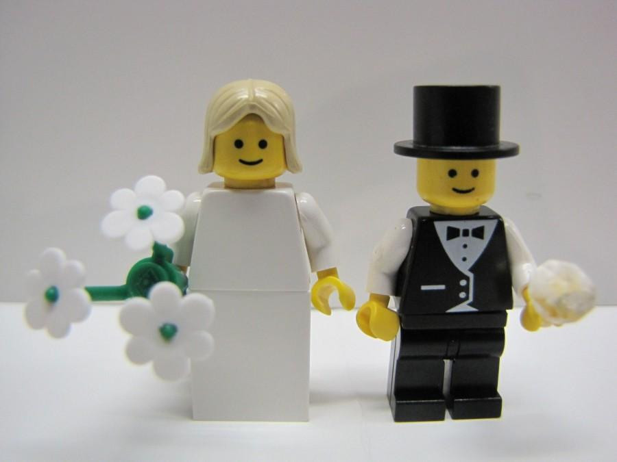 Lego Hochzeit  Lego BRIDE & GROOM Wedding Minifig Pair Blonde Hair