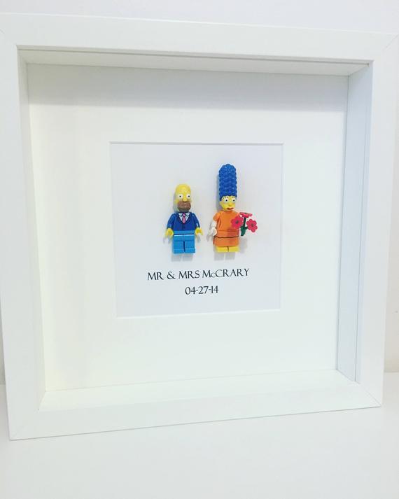 Lego Hochzeit  Die Simpsons Lego Mini Figur Hochzeit Jubiläum Rahmen