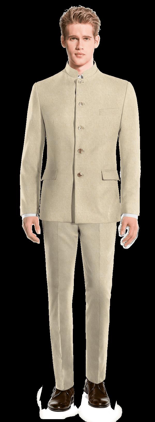 Leinen Anzug Herren Hochzeit  Beige Stehkragen Anzug aus Leinen 299€ Vailly