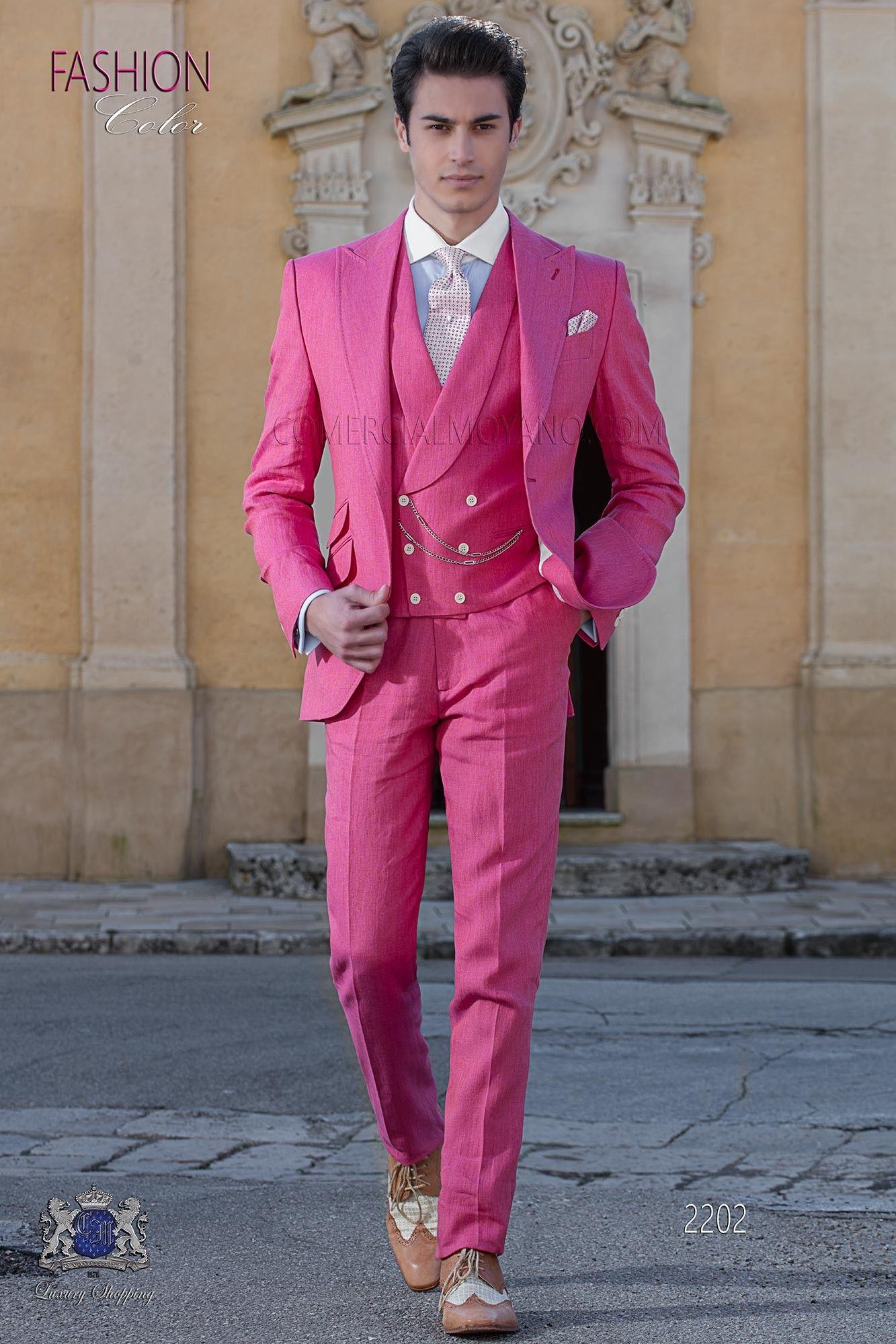 Leinen Anzug Herren Hochzeit  Italienisch Anzug rose aus reiner Leinen in 2019