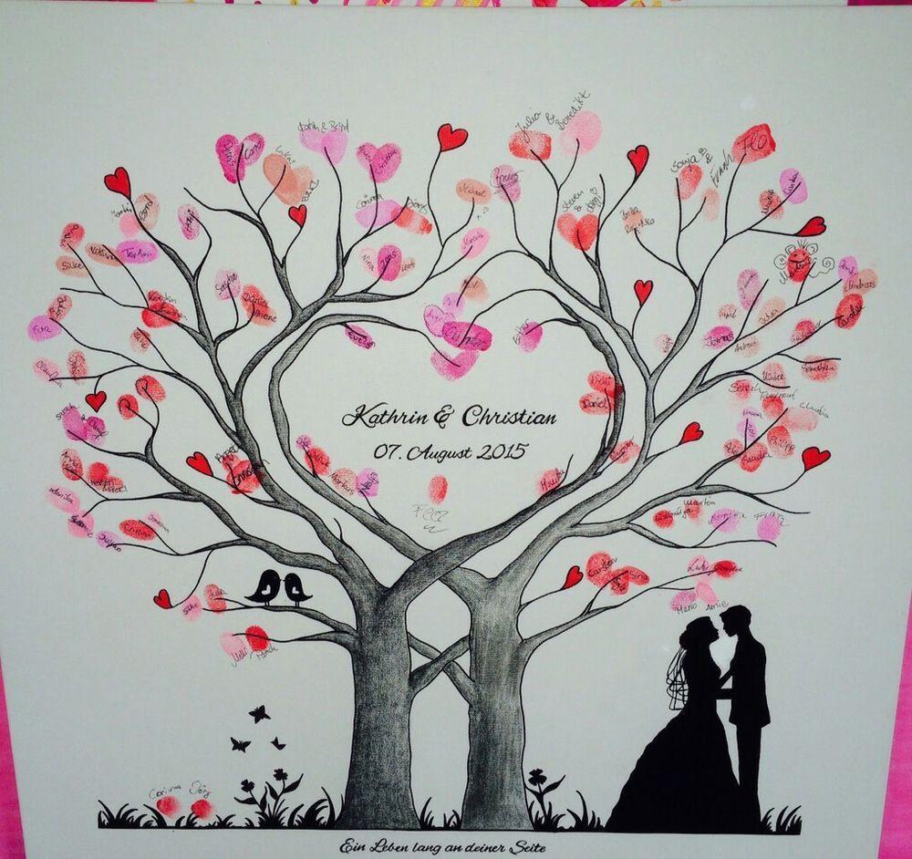 Leinwand Fingerabdruck Hochzeit  Wedding Tree Herz Fingerabdruck Baum Hochzeit Geschenk