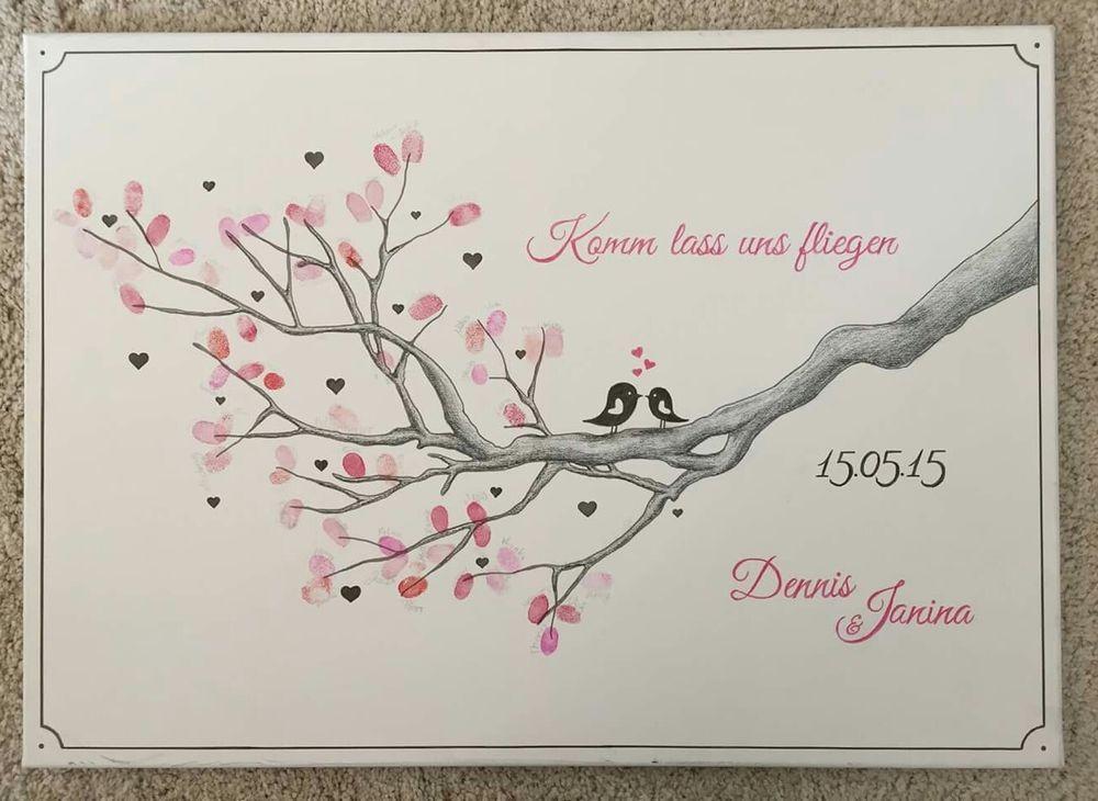 Leinwand Fingerabdruck Hochzeit  Wedding Tree Fingerabdruck Baum Ast Hochzeit Taufe