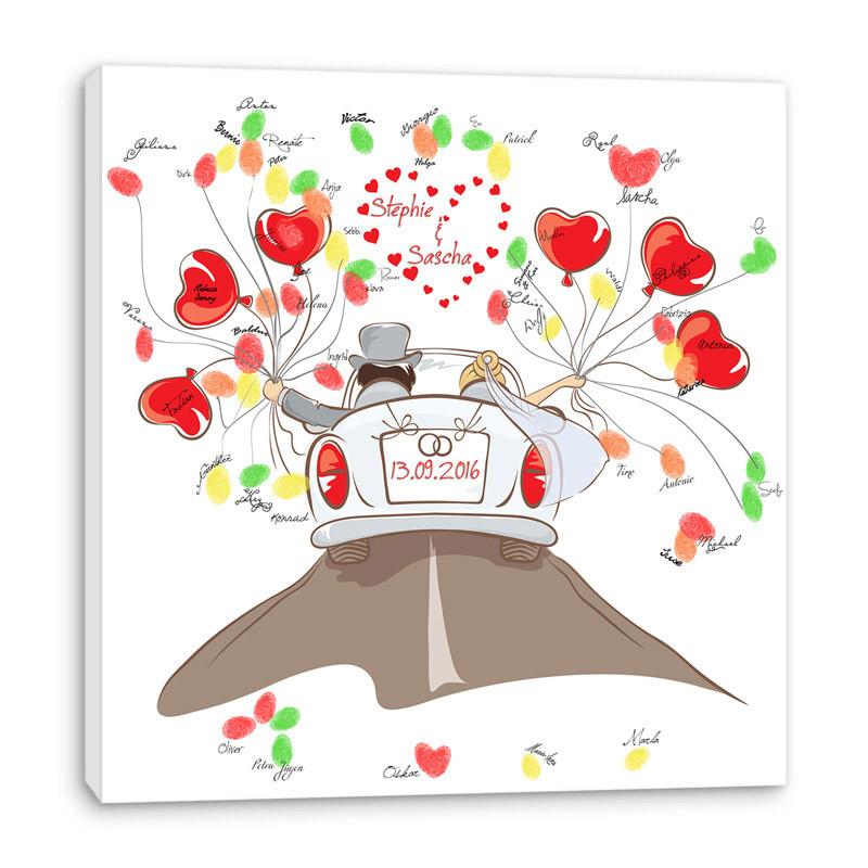 Leinwand Fingerabdruck Hochzeit  Fingerabdruck Baum auf Leinwand ♥ Hochzeitsspiel
