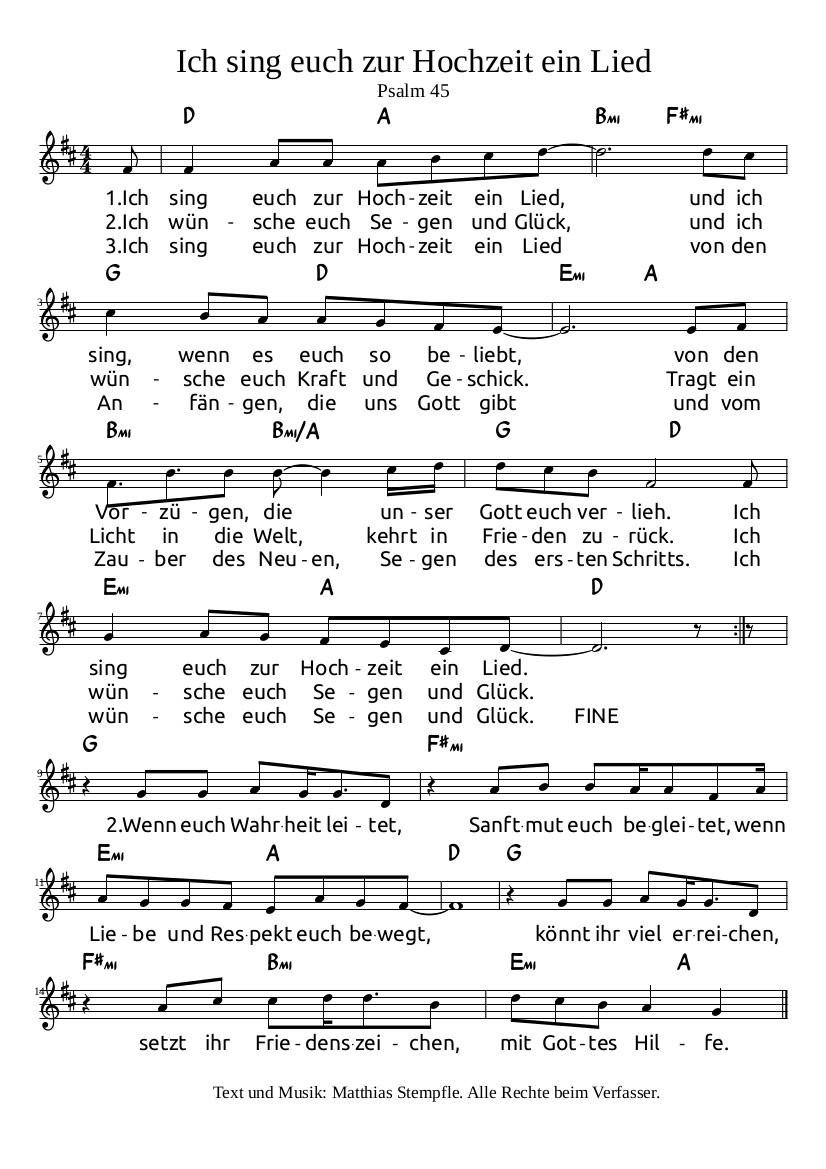 Lied Hochzeit  Psalmen Psalmen und Lieder