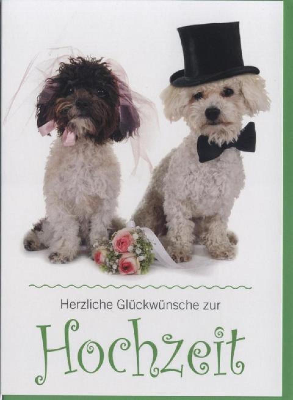 Lustige Geschichte Zur Hochzeit  Glückwunschkarte zur Hochzeit Hunde Tiere Herzlichen