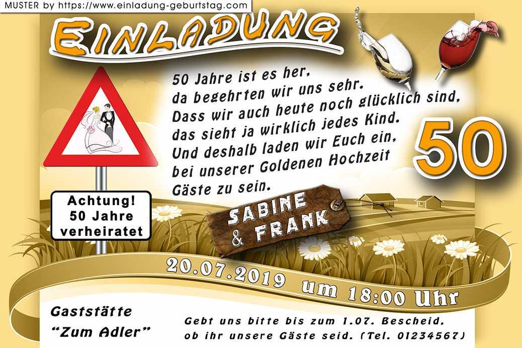Lustiges Zur Goldenen Hochzeit  Lustige Einladung Goldene Hochzeit mit Hinweisschild