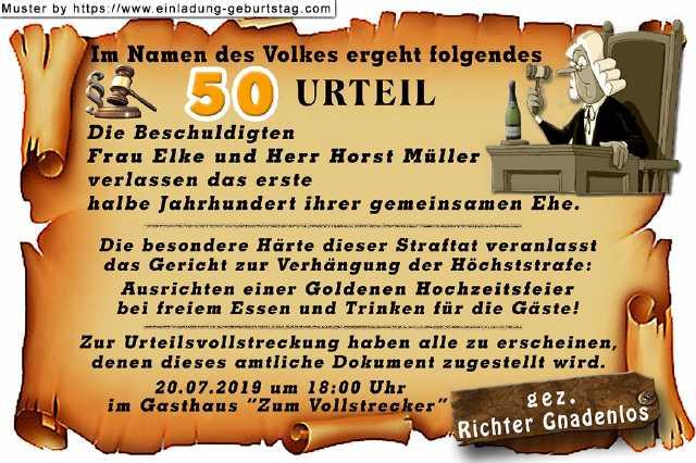 Lustiges Zur Goldenen Hochzeit  lustige Einladungskarten für Ihre Goldene Hochzeit