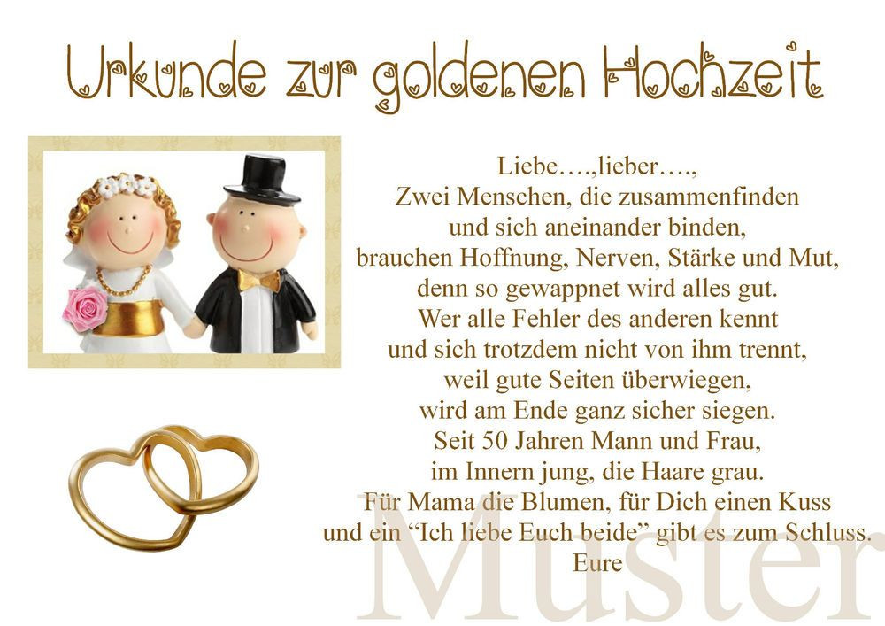 Lustiges Zur Goldenen Hochzeit  Urkunde zur goldene Hochzeit 50 Hochzeitstag Gold