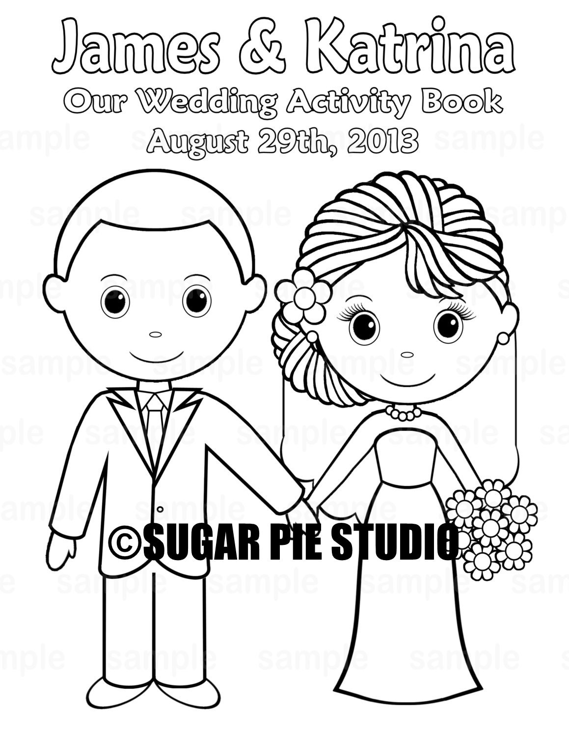 Malbuch Hochzeit  Printable Personalized Wedding coloring activity book Favor